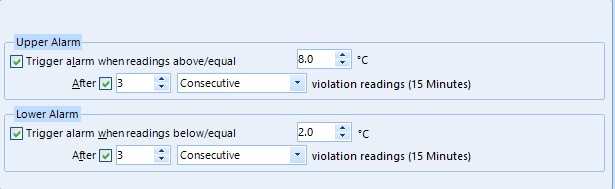 LogTag UTRIX Temperature Alarm Settings