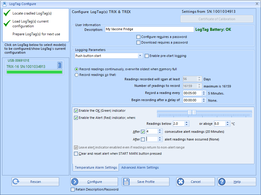 How to configure LogTag TRIX-16 or TREX-8